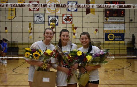 Seniors Greta Tilden (left), Maggie Vrahoretis (middle), and Maddie Wagner (right) have been instrumental in the turnaround of CHS volleyball.