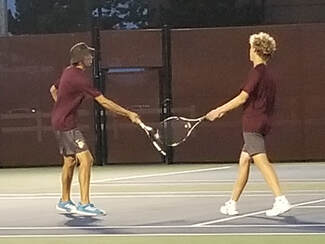 Chesterton senior John Petro (left) and junior David Archbald celebrate after scoring during their match at Crown Point September 9th, 2020.