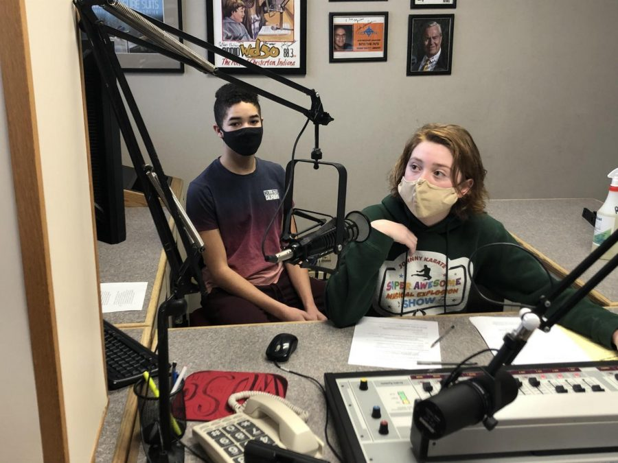 Two students deliver the 10 a.m. news